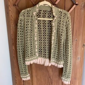 One Girl Who Anthropologie crocheted cardigan